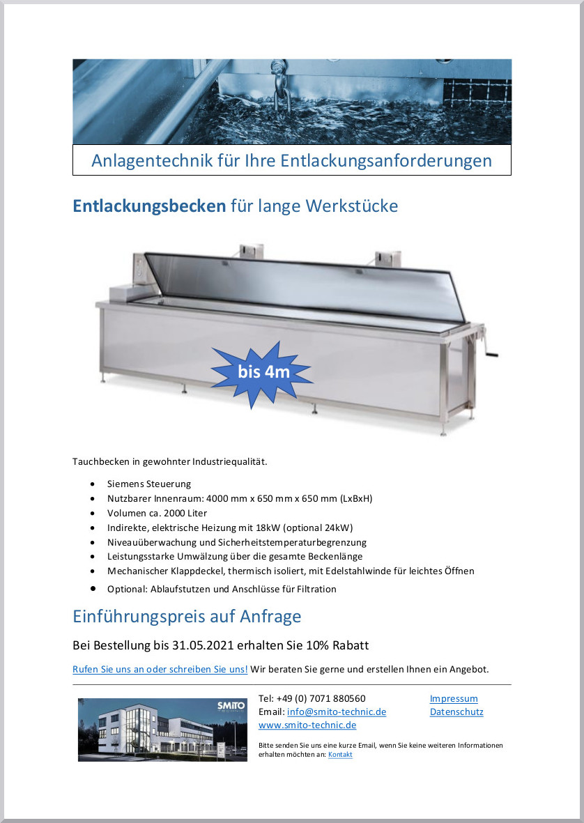 Dip Tank for long workpieces